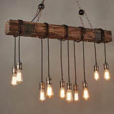 10-Light Wooden Beam Linear Island Pendant Ceiling Lamp Large Farmhouse Light