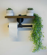 Industrial Pipe & Wooden Shelf With Toilet Roll Holder Hanging Wall Mounted