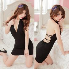 Black Sexy Revealing Deep V Dress Bodycon Backless Nightwear NightClub for Women