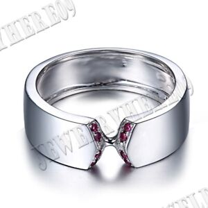Engagement Generous Band Natural SI/H Diamonds & Ruby Ring Sterling Silver 925