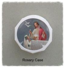 Rosary CASE Screwtop BOX with prayer ~ WHITE Girl 1st First Communion  NEW