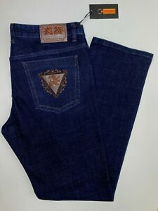 Zilli Jeans Dark Blue Brown Accents Silver Hardware Incredible Size 38x33