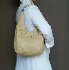 Beige Leather Hobo Bag Purse, Slouchy Hobos, Handmade Fashion Handbags, Kiara