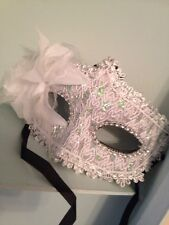 White Lace  Mask . Mascarade Or Ball Tie On Mask . Fancy Dress Mask With Glitter