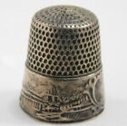 Antique Simons Bros Sterling Silver Thimble   Landscape  Country Scene 1890