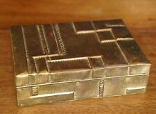 Vintage Paul Evans Style Patchwork Hinged Mixed Metal Box Handmade Brass & Wood