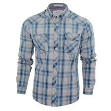 Camicie casual e maglie da uomo blu con Fantasia Scacchi, quadretti taglia S