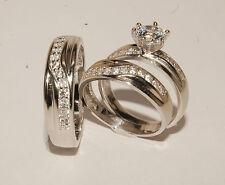 14k white  Gold Wedding Bands & Engagement ring Man's & ladies Trio Set His/Hers