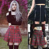 New Women Punk Gothic Style Girl High-waist Mini Skirt Plaid Pleated Short Dress