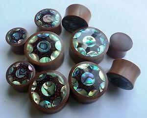 1 Pair Sun Abalone Shell Red Metallic Glitter Resin Saba Wood Saddle Ear Plugs