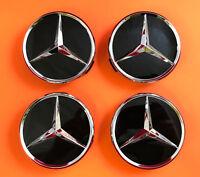 4x original Mercedes Benz Radnabenabdeckung Nabenkappen Kappe Stern schwarz neu