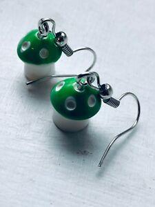CUTE RETRO COOL MUSHROOM Earrings Green and White Polkadot Size 1.2 x 1 cms