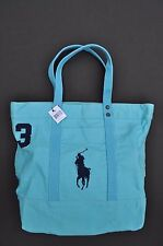95e0bb0a685f Polo Ralph Lauren Light Blue Canvas Tote Bag Navy Blue Stitch 16x18x7