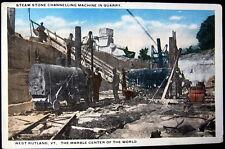RUTLAND Vermont ~ 1920's STEAM LOCO CHANNELING MACHINE IN QUARRY~ MARBLE