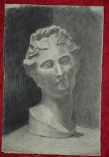 Bellissimo Disegno a Carboncino 1930 Statua Raffigurante Donna Greca 47,5x31,5