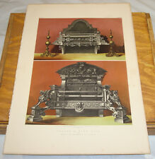 1863 Antique COLOR Print/GRATES & FIRE DOGS/Belgian Exposition/ORNATE