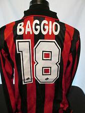 1994-1995 AC Milan Home BAGGIO 18 Manica Lunga Maglietta Da Calcio Grandi (31934)