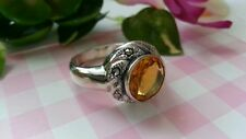 Beautiful Real Sterling Silver  925 Ring Yellow CZs Marcasite Size 9 NEW B3