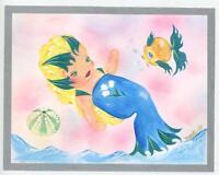 MERMAID SEA URCHIN SEASHELL SHELL LILY OF THE VALLEY CHILD GIRL CUTE FISH PRINT