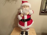 """Telco Santa Claus 23"""" tall animated candle lights arms & head moves works vtg"""