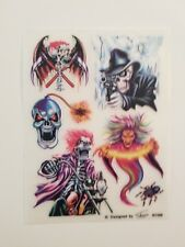Wholesale Lot 12 Sheets Skull Spider Motorcycle Wizard Temporary Tattoos Rub On