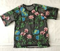 Zara Womens Sheer Top Floral Embroidered Short Sleeve Shirt Crew Neck Small S