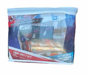 The Amazing Spider-Man 2 Twin Sheet Set-Flat Sheet Fitted Sheet & Pillowcase NEW