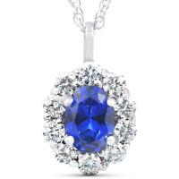 1 3/4ct Oval Blue Sapphire & Genuine Diamond Halo Pendant 14K White Gold