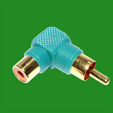 Right Angle Green RCA Phono Adaptor Audio Plug to Socket Gold Plated Contacts