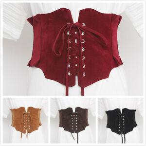 Women Suede Wide Belt Lace Up Stretch Corset High Waist Slim Waitband Vintage