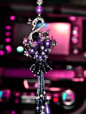 Purple Crystal swan pendant car interior Mirror Hanging Ornament Accessories UK