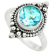 3.48cts Natural Blue Topaz 925 Sterling Silver Solitaire Ring Size 8 P72386