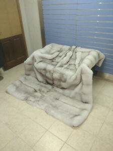 "Luxury Full Skin ""Blue Fox Fur Throw Real Fur Skin To Skin Fox Blanket King Size"