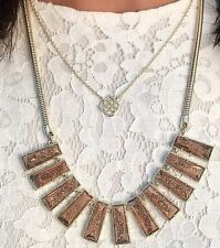 NEW Kendra Scott Angelina Bib Necklace Rose Gold Drusy & Gold $395 SOLD OUT