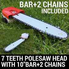 NEW 7 TEETH POLESAW POLE SAW HEAD REPLACEMENT W/BAR+2CHAIN BRUSHCUTTER CHAIN SAW