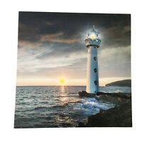LED Light Up HD Sunset Ocean Lighthouse Wall Home Decor Canvas Picture Gift Art