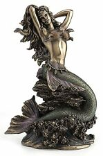 Large Mermaid Upon Rock Statue Sculpture Collectible Figurine Nautical Decor