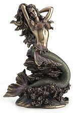 Large Mermaid Upon Rock Statue Sculpture Collectible Figurine Great Gift!