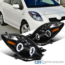 For Toyota 06-08 Yaris 2/3Dr Hatchback LED Halo Projector Headlights Lamps Black