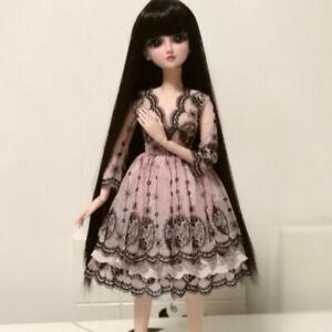 1/3SD BJD Outfit Clothes Lolita Princess Pink Dress with Black Lace Deco AOD DOD