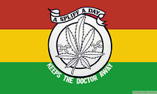 A SPLIFF A DAY KEEPS THE DOCTOR AWAY RASTA 5x3 feet FLAG 150cm x 90cm flags