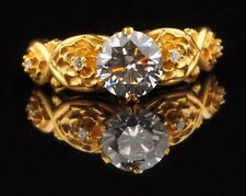 Solid 14KT Yellow Gold 2.80Ct Round Shape Solitaire With Accents Engagement Ring
