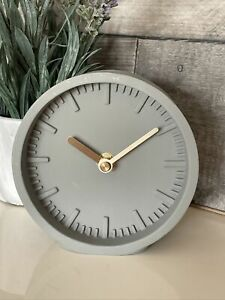 Contempery Round Grey Circle Clock Mantle Bedside Desk Modern Freestanding 13cm