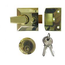 étroit Loquet de nuit Verrou à cylindre, laiton poli, avec 2 clés devant serrure