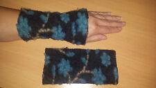 Walk-Wolle-Armstulpen -Pulswärmer anthrazit-beige-blau  by Zonel