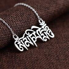 925 Sterling Silver Tibetan Om Mani Padme Hum Pendant Necklace Yoga A2373