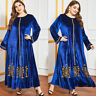 Muslim Abaya Women Embroidery Velvet Maxi Dress Long Jilbab Kaftan Robe Islamic