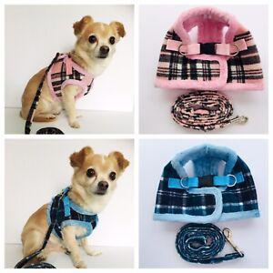 Dog Harness & Lead Set Coat Small Breeds Puppy Pink or Blue Tartan XS-L