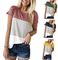 Women's Round Neck Striped Color Block T-Shirt Short Sleeve Loose Tunic Blouse