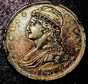 1838 Capped Bust Half Dollar 50c Reeded Edge High Grade Type Coin AU Toned